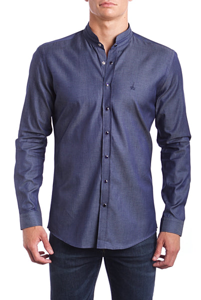 Thunder Grey  Andriali Slimfit Dress Shirt (Embroidered Logo)  Made of the finest 100% cotton.  This distinctive collar feature is perfect for the guy who is an artist or enjoys bringing nostalgia to the future.