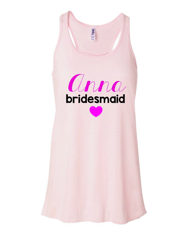 d9b1303642 Personalized Wedding Party Flowy Tanks - Be Vocal Designs