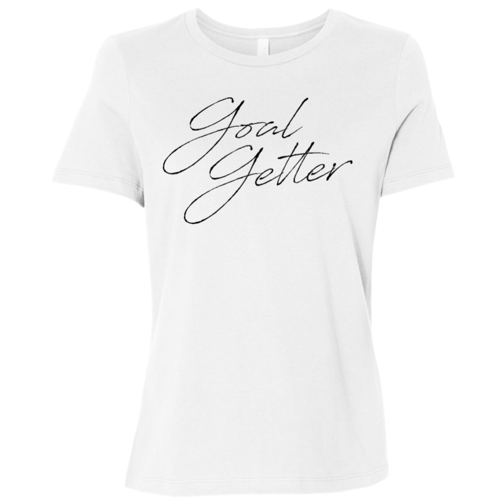 Goal Getter Script White Graphic Tee