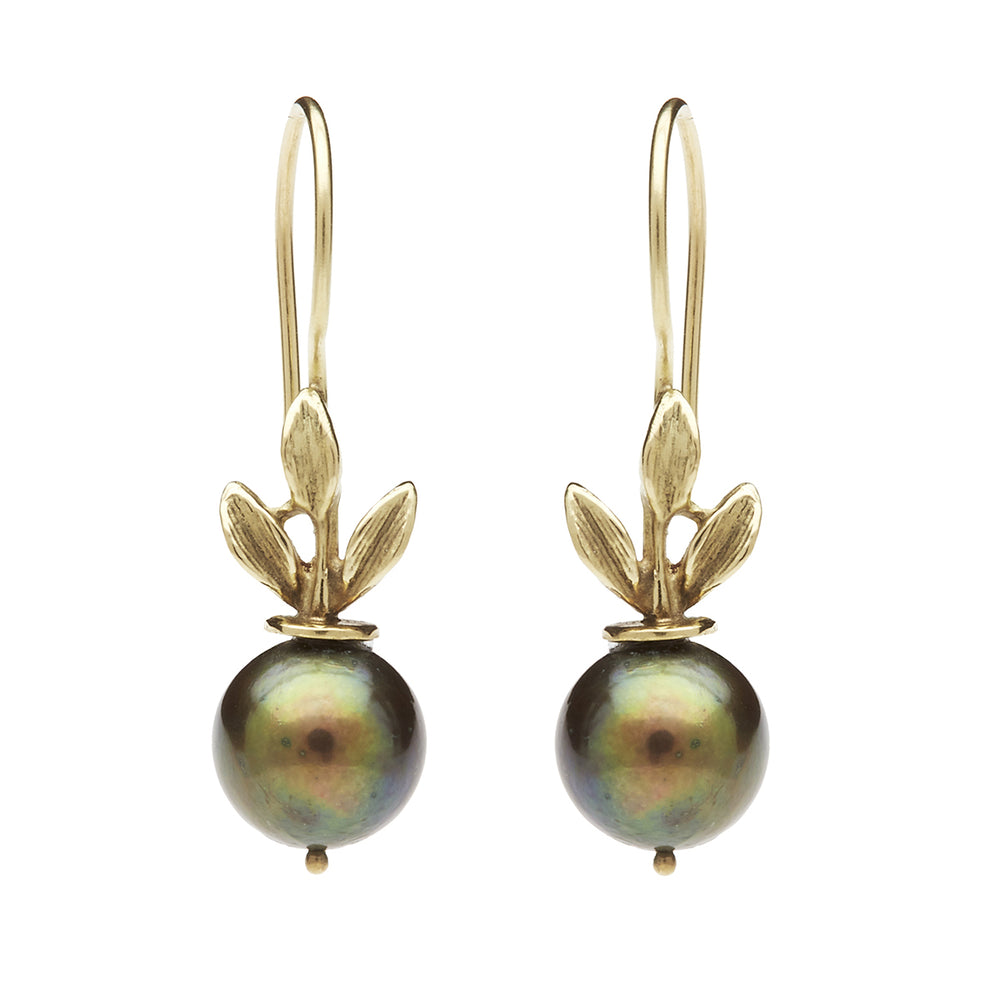 Load image into Gallery viewer, 3 leaf Green/Black Pearl Earring