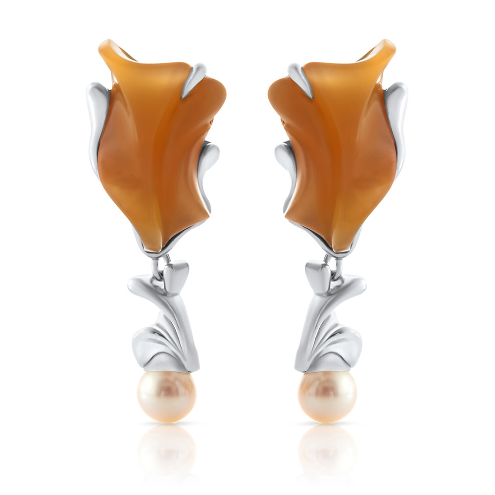 Load image into Gallery viewer, Carnelian-Pearl Earring