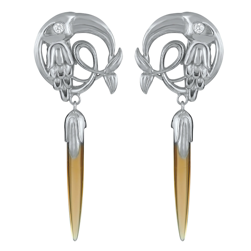 Load image into Gallery viewer, Silver Citrine Crane Earring