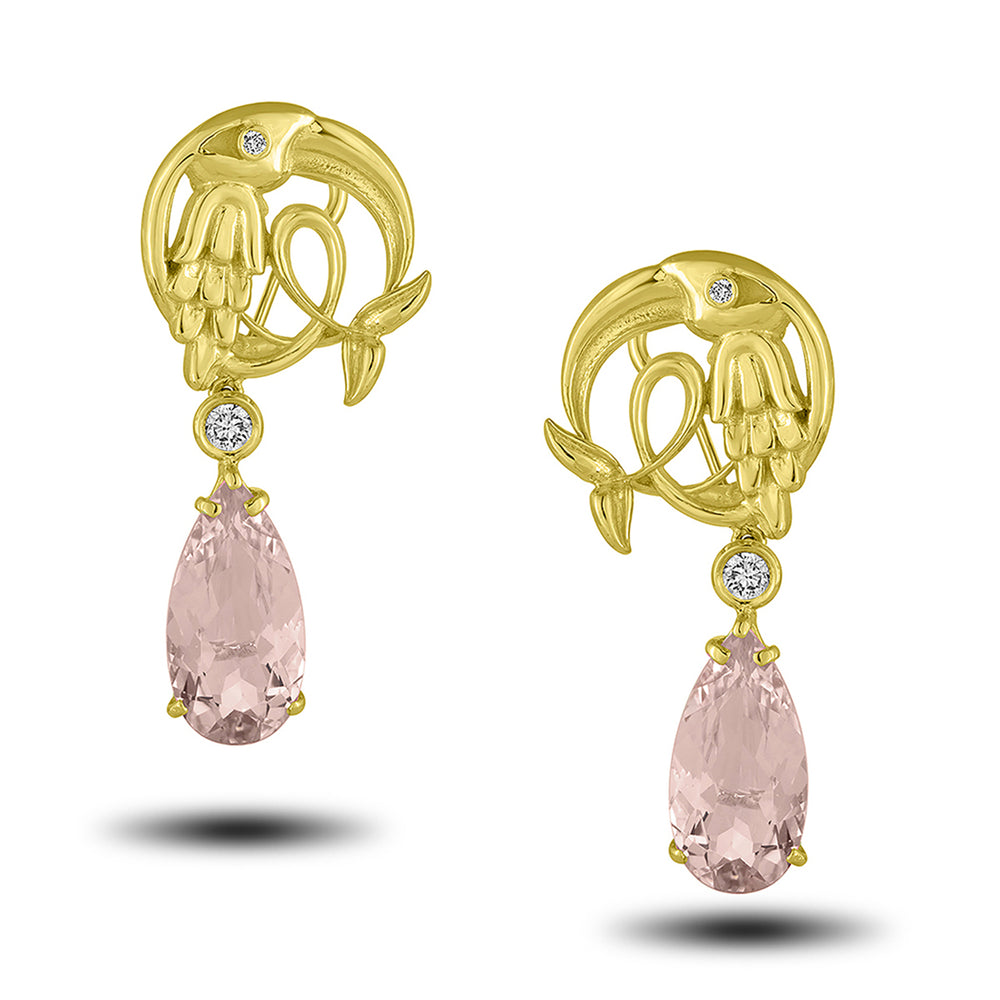 Morganite Crane Earring