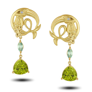 Load image into Gallery viewer, Peridot Crane Earring