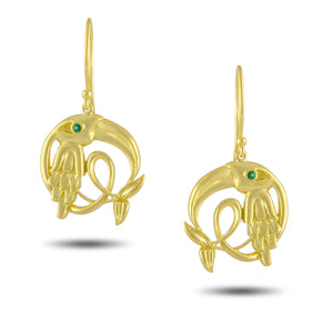 Load image into Gallery viewer, Small Emerald Crane Earring