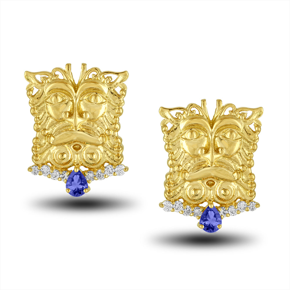 Load image into Gallery viewer, Tanzinite Mask Earring
