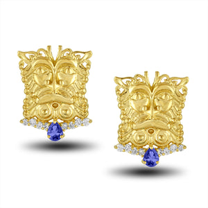 Tanzinite Mask Earring