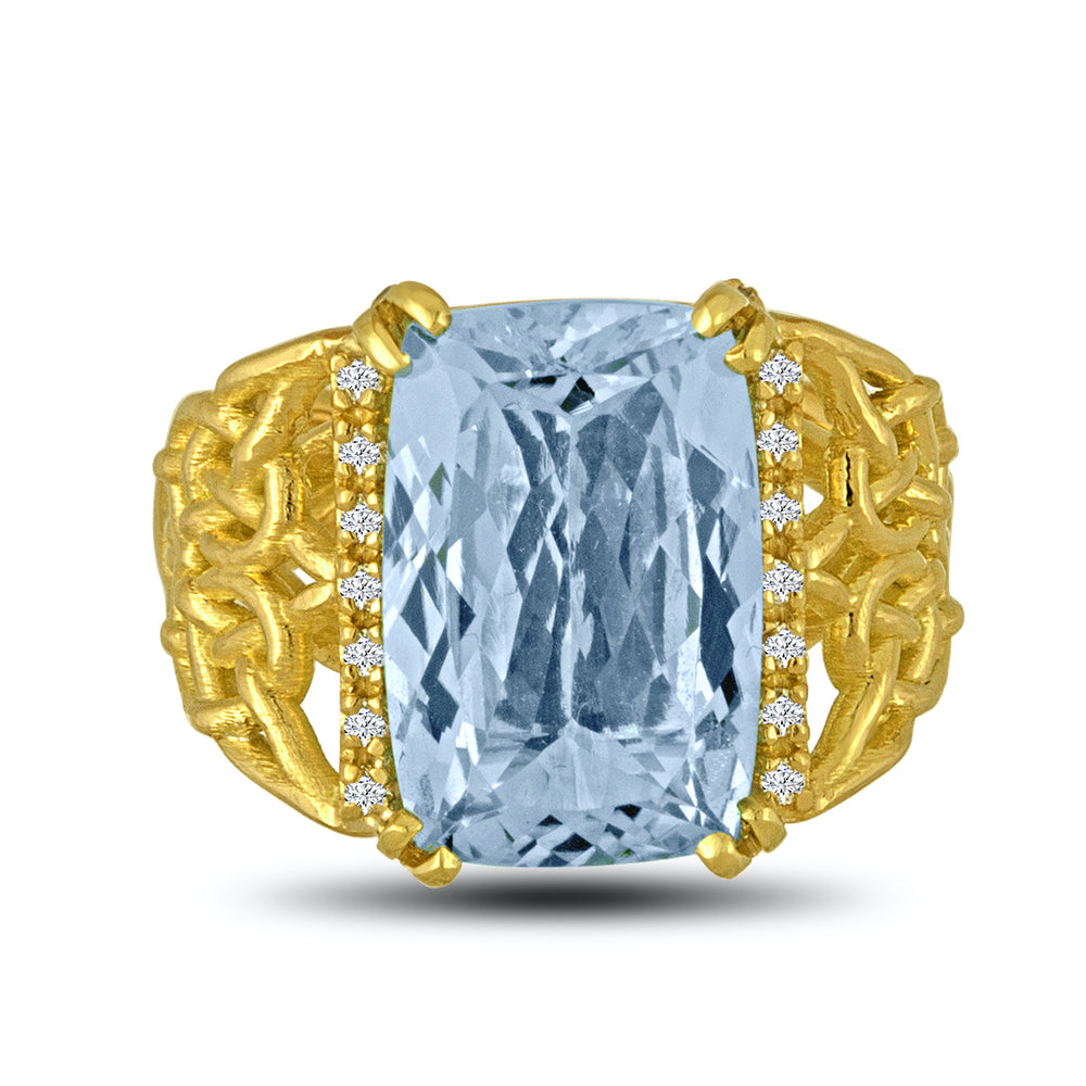 Knotted Aquamarine Ring