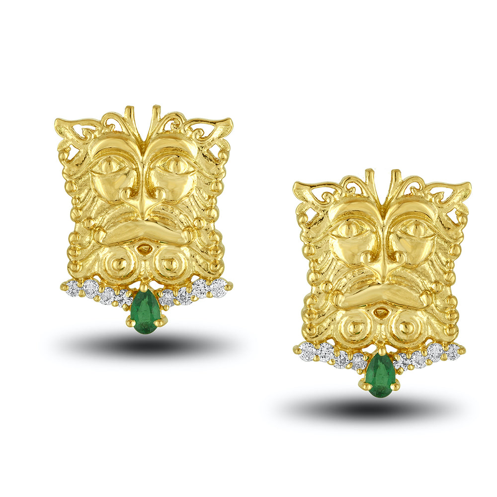 Emerald Mask Earring