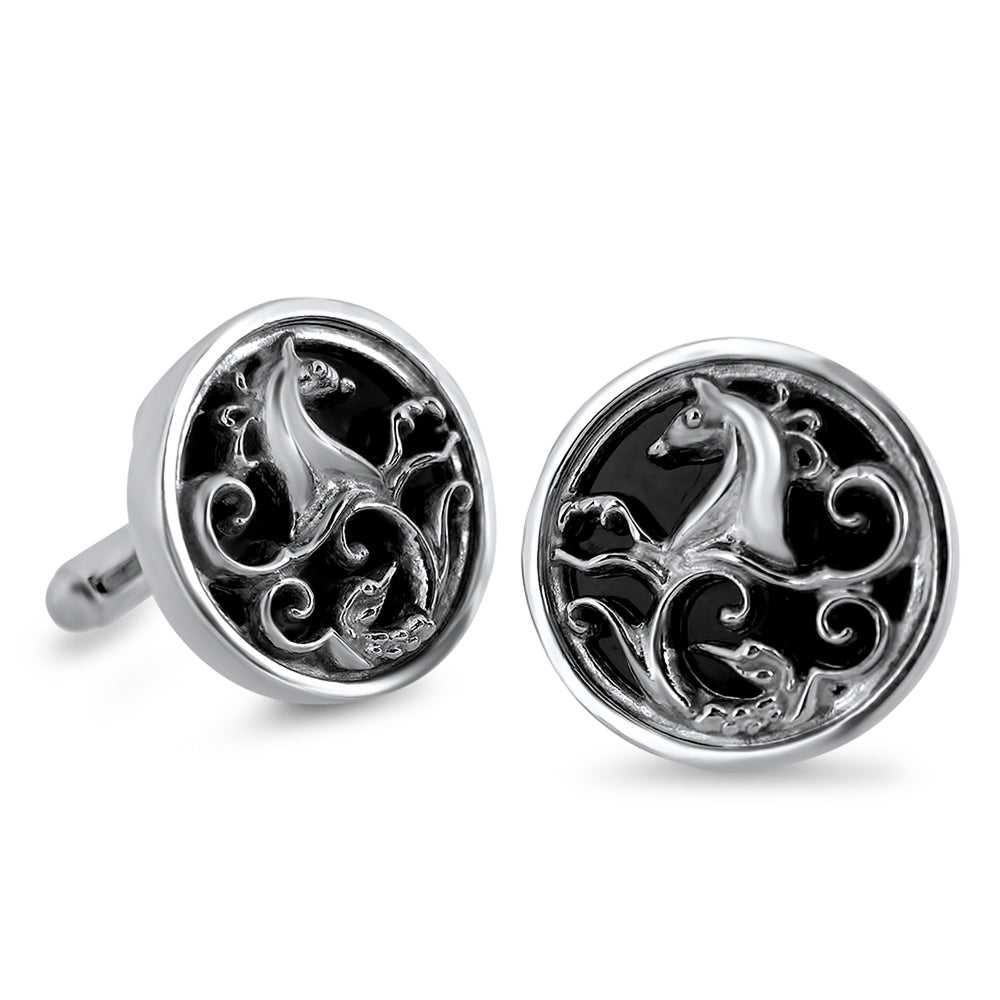 Load image into Gallery viewer, Silver Warrior Cufflink