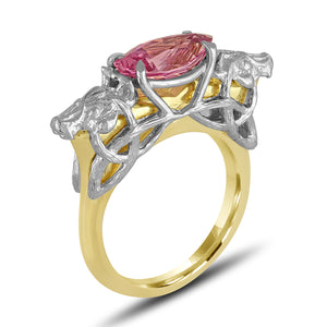 Pink Spinel Wolf Ring