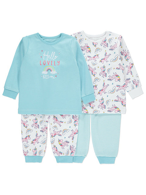 Vauvan unicorn pyjamat 2 pack