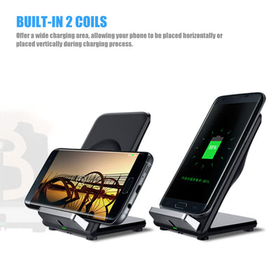Qi Wireless Fast Charging Stand Holder Quick Charge Built-in Cooling Fan Dual Coils