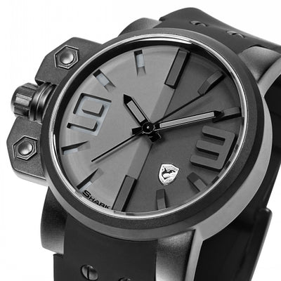 Salmon Shark Sport Watch Men Stainless Steel Case Full Black