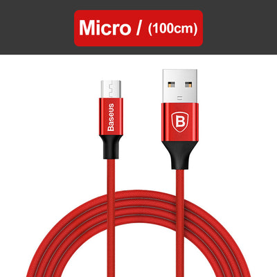 Baseus USB Cable For iPhone X 8 7 6 Charging Charger 3 in 1 Micro USB Cable