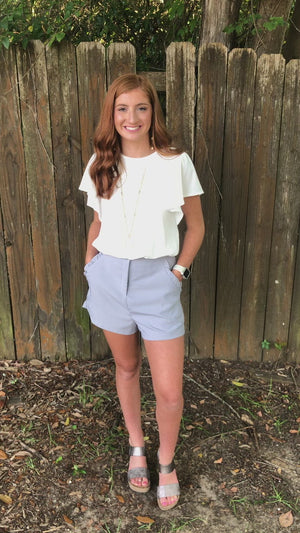 All Ruffled Up Shorts Blue Gray