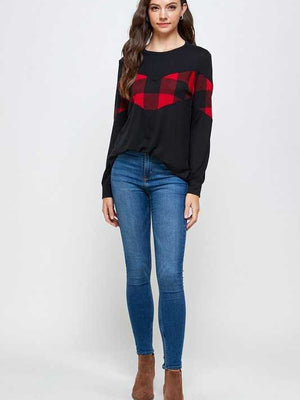 Holiday Wishes Plaid Top