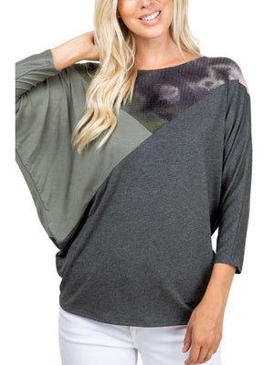 Curvy Tie Dye It Up Dolman Top, Olive