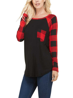 Curvy Casual Plaid Pocket Top