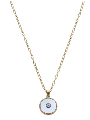 Jen Mother of Pearl Charm Necklace 22208N-GD
