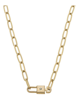 Harper Lock & Key Paperclip Necklace 22089N-GD