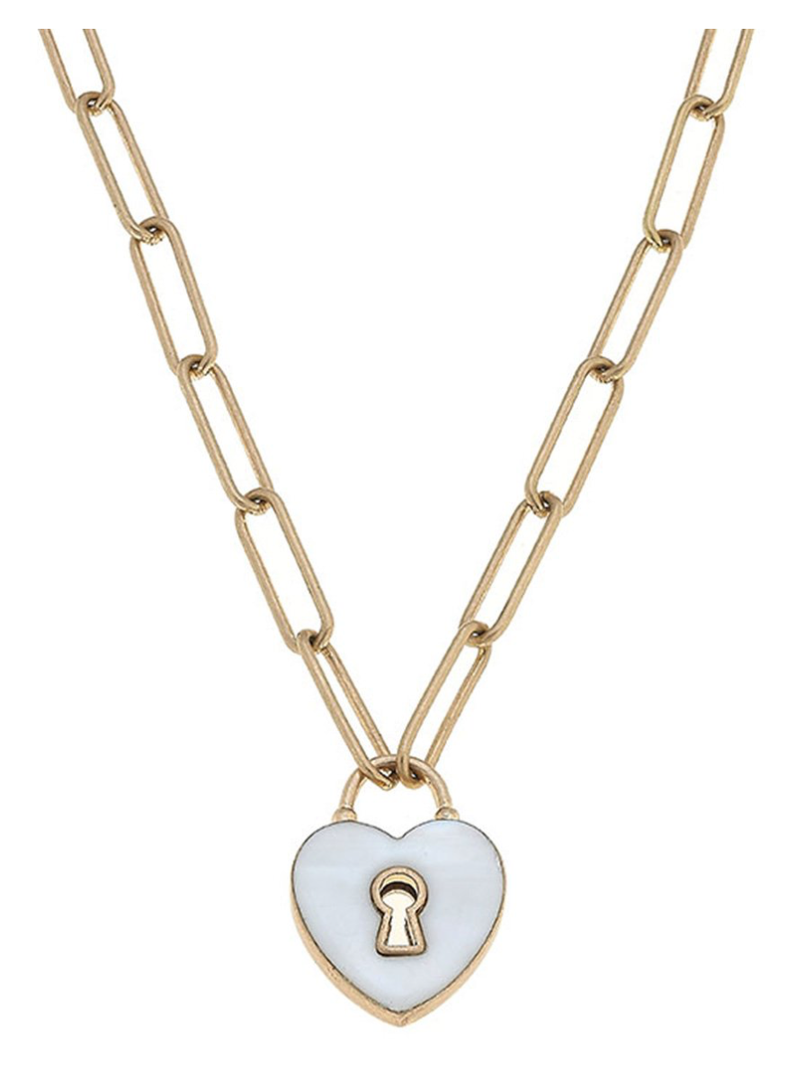 Monclér Enamel Heart Padlock Necklace 22156N-GD-MOP