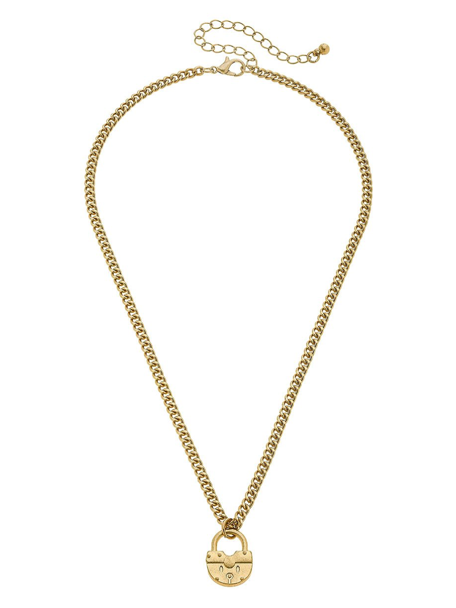 Aspen Padlock Necklace 22093N-GD