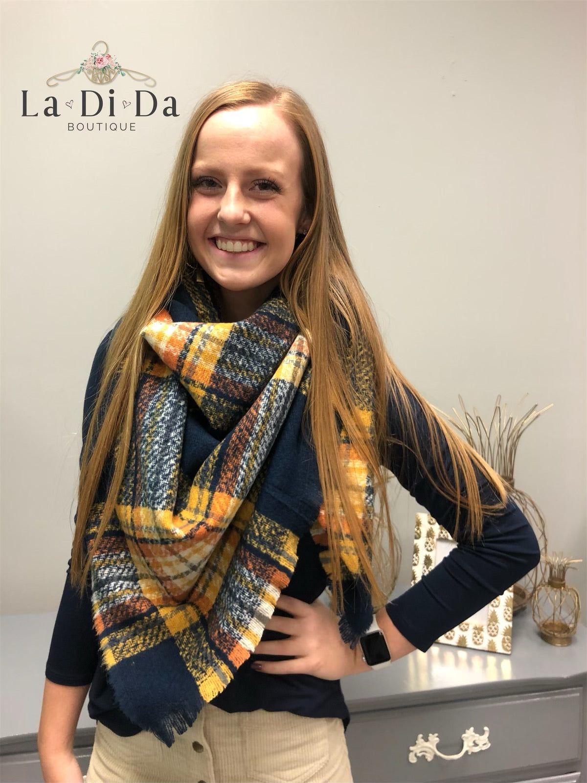 Plaid About You Blanket Scarf, Navy/Mustard