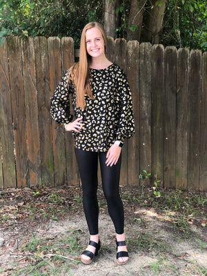 On The Way Leopard Top, Black/Gold