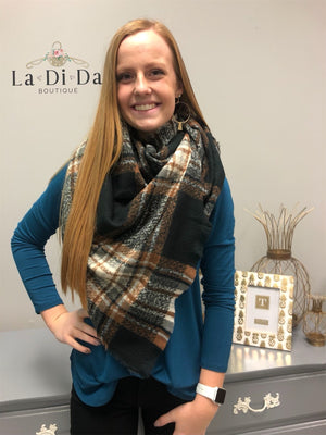 Plaid About You Blanket Scarf, Black/Brown