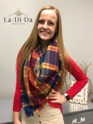 Plaid About You Blanket Scarf, Navy
