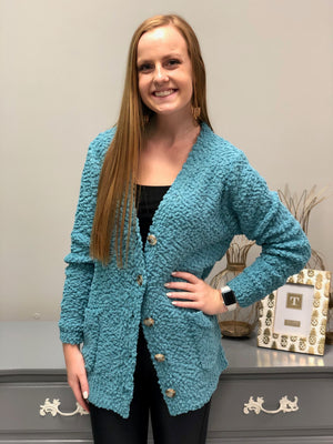 Buttoned Up Cardigan, Dusty Teal