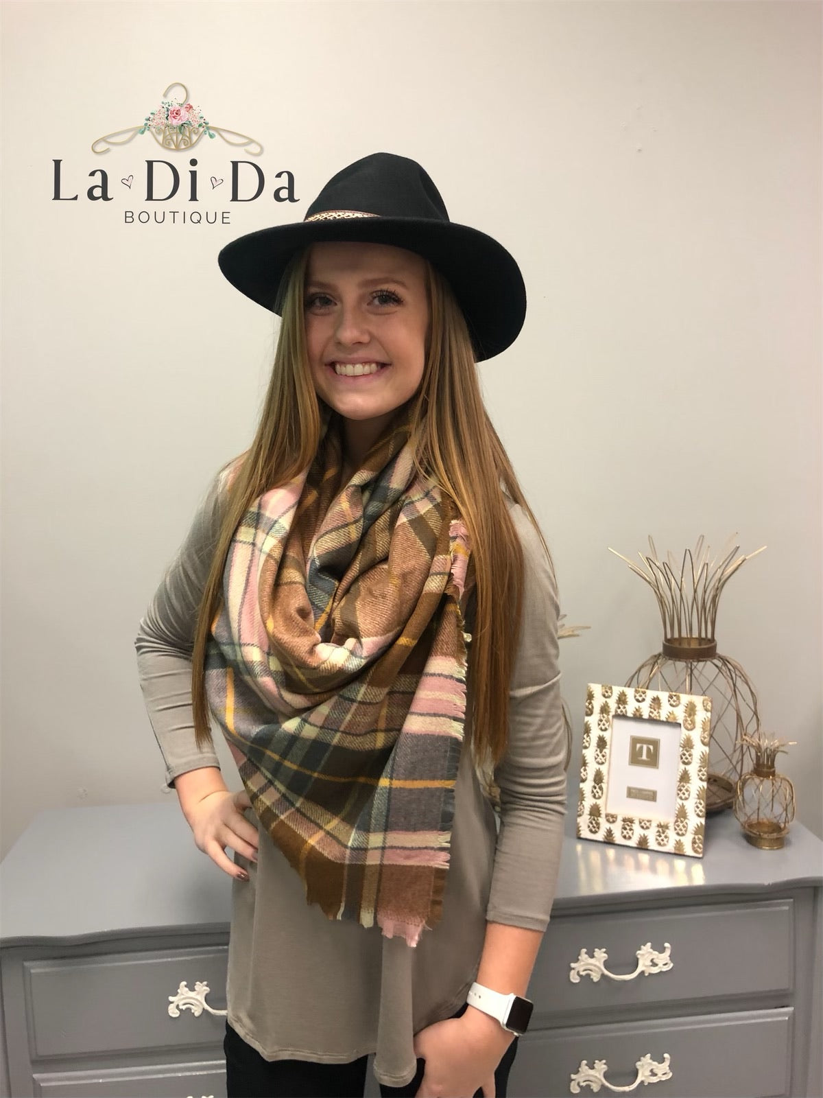 Plaid About You Blanket Scarf, Blush