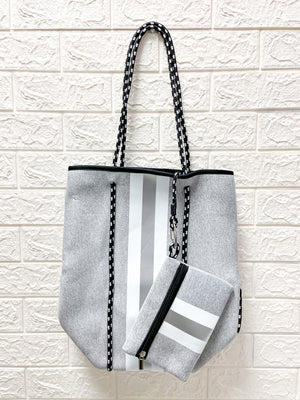 Gray Metallic Stripe Neoprene Tote
