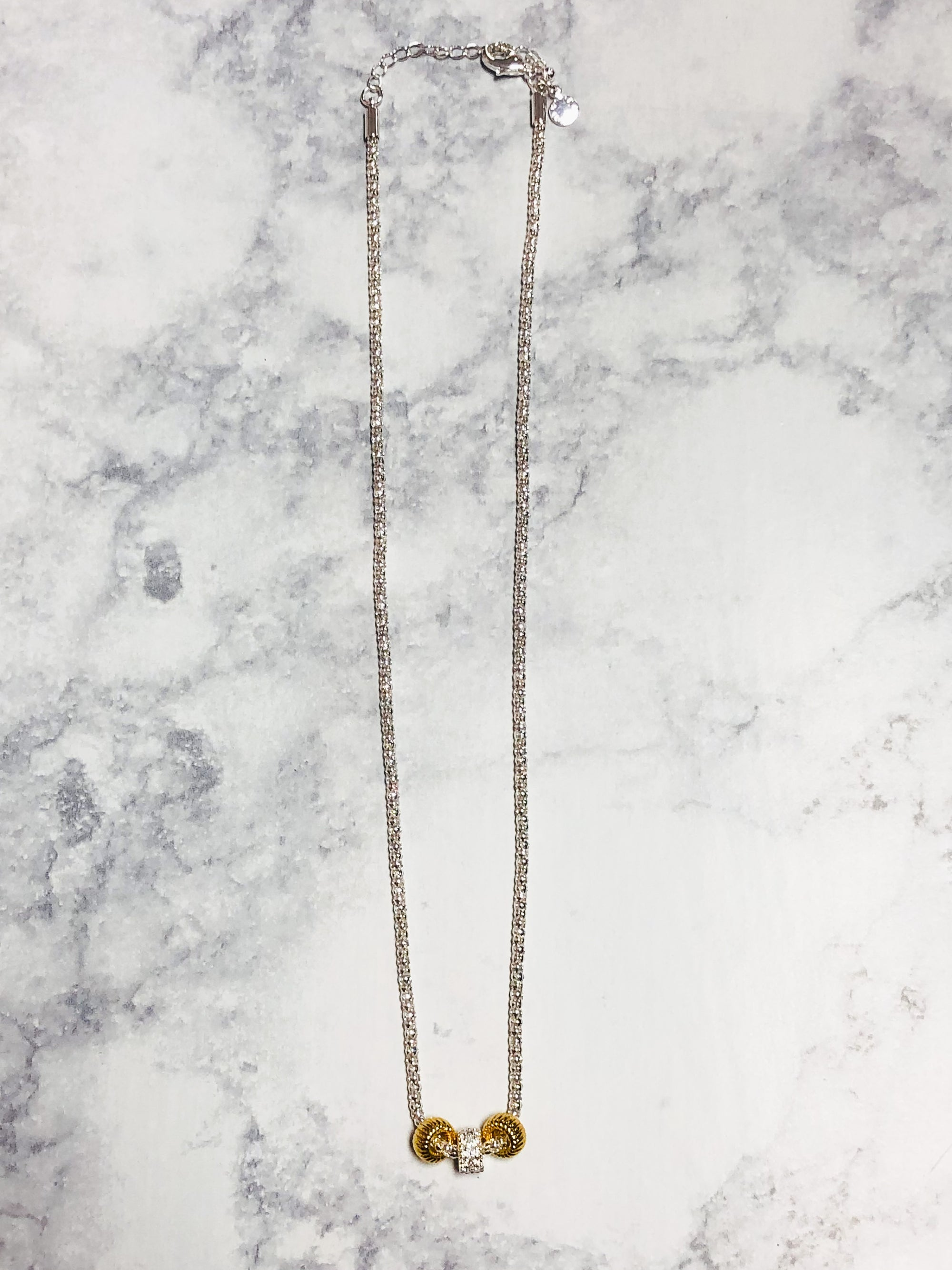 KL Halo Silver & Gold Necklace