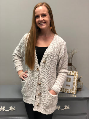 Buttoned Up Cardigan, Bone