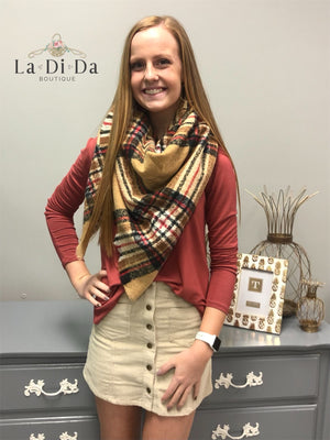 Plaid About You Blanket Scarf, Beige