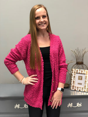 Buttoned Up Cardigan, Hot Pink