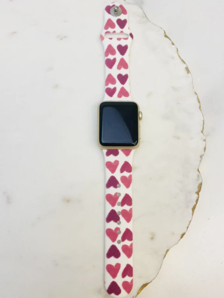 Pink Hearts Watch Band
