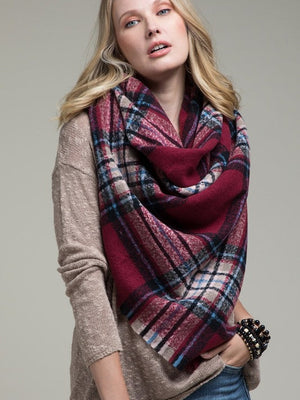 Plaid About You Blanket Scarf, Burgundy