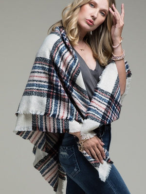 Plaid About You Blanket Scarf, Ivory