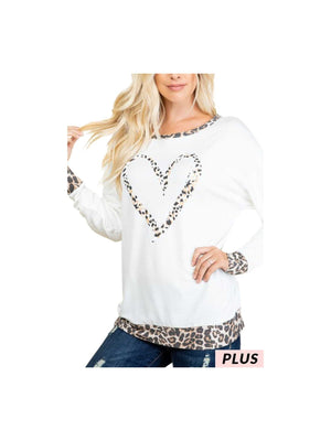 Curvy My Heart Is Leopard Top