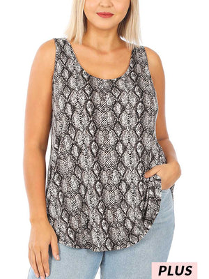 Curvy Sneaking By Snakeskin Top, Brown