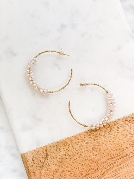 Pearl Cluster Hoop Earrings, Gold