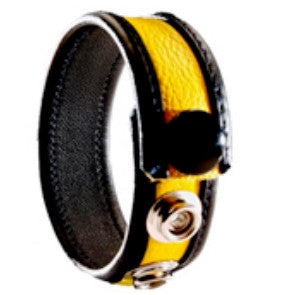 3 Snap Leather Cock Ring - Black / Yellow