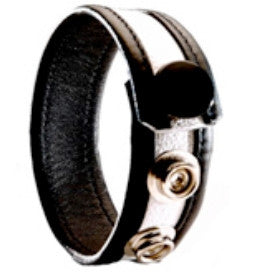 3 Snap Leather Cock Ring - Black / White