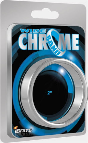 Wide Chrome Band Chrome CockRing 38mm