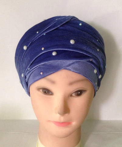 Luxurious Beaded Velvet Turban - Ankara Boutique