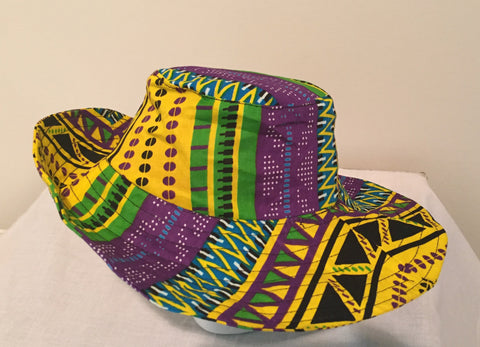 Caribbean Colored Ankara Hat - Ankara Boutique