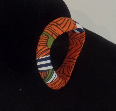 Orange Bangle & Disc Earring Set - Ankara Boutique